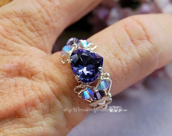 Tanzanite Swarovski Heart Shape Crystal Hand Crafted Ring Wire Wrapped Original Signature Design Ring Fine Jewelry December Birthstone