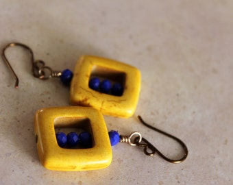 Cobalt Blue Glass & Yellow Magnesite Square Dangle Earrings