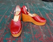 RARE Vintage lipstick red leather wedge platform ankle strap heels sz 8 - 8.5