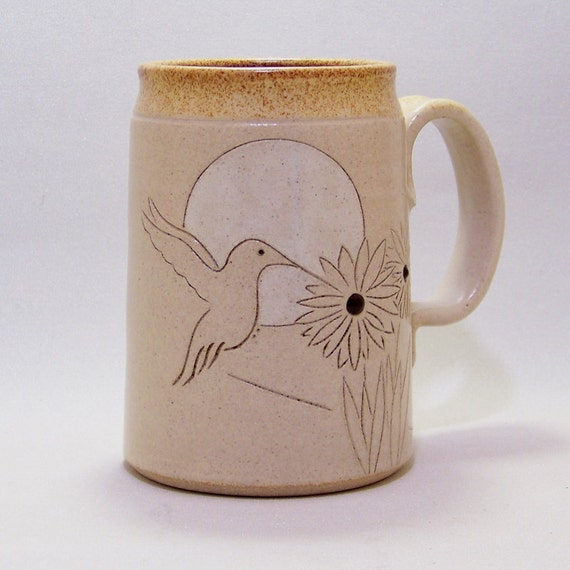 Hummingbird and Flowers Line Drawing  Mega Mug  Limited Series 10 (microwave safe)