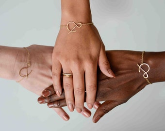 ampersand rose gold bracelet