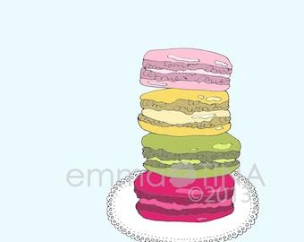 French Macarons Decorative Foodie Illustration Art Print