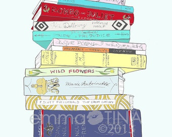 The Classics Book Stack Decorative Illustration Art Print