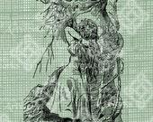 Digital Download Alice and the Cheshire Cat, Alice in Wonderland digi stamp, digis, digital stamp, Lewis Carroll Antique Illustration