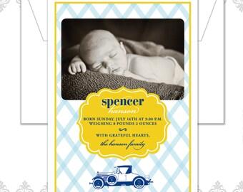 Vintage Car Striped Photo Baby Announcement