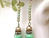 Gretchen.pearl,rhinestone,green beaded earrings. Tiedupmemories