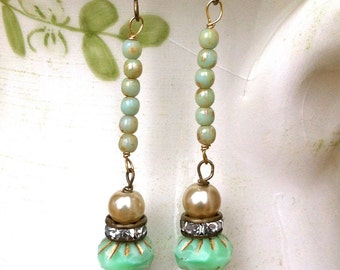 Gretchen.pearl,rhinestone,green beaded earrings. Tiedupmemories