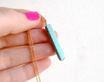 Minimal Turquoise Bar Necklace. Simple Layering Piece. Bohemian Chic Jewelry. Minimalist Stone Pendant. Turquoise Stick. FREE Shipping in US
