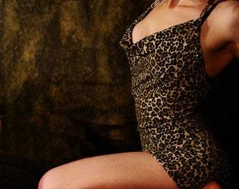 BETTIE BLUES Vintage Ligature Dress DIY Scoop front & leopard print ooak punk rock