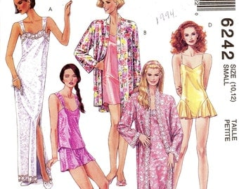 90s Lingerie Pattern robe camisole teddy shorts nightgown sewing pattern McCalls 6242 UNCUT Sz 10 12 or 18 to 20