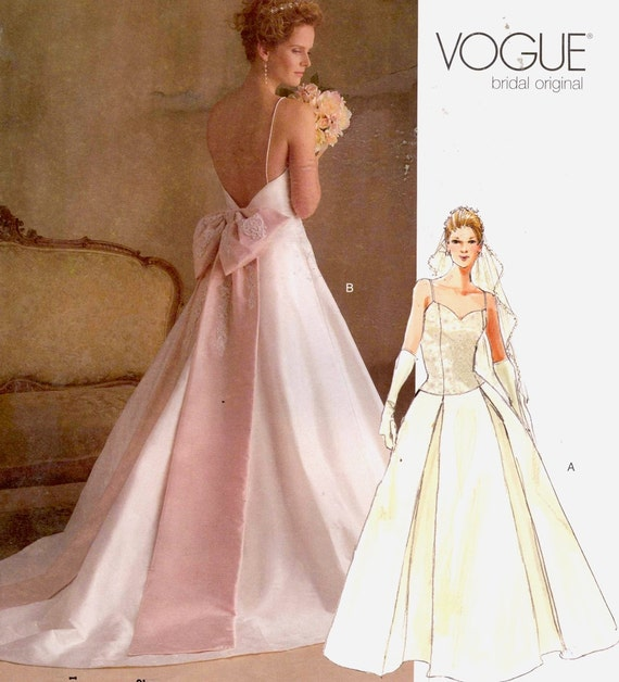 Romantic Vogue Wedding Dress Sewing Pattern Vogue 2849 Sz 6 To