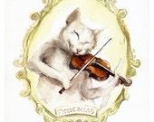 Fiddlehead - cat art, cat watercolor painting- print