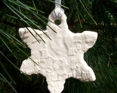 Delicate White Lace Snowflake Christmas Ornament / White Christmas Ornament