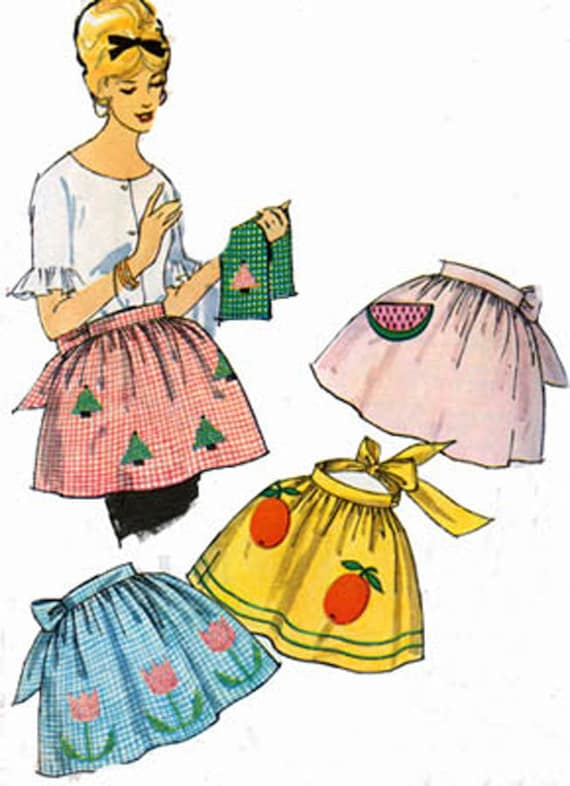 1950s One Yard Hostess APRON Simplicity 4180 Vintage 50s Sewing Pattern One Size