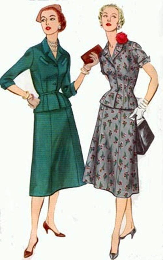 1950s McCalls 1007 Classic Suit Dress with pointed Cuffs Vintage 50s Sewing Pattern Size 16.5 Bust 35 UNCUT