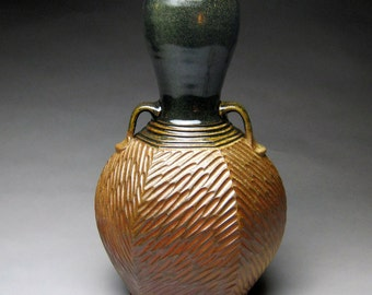 Woodfired Albany Slip Glazed Hexagonal Vase