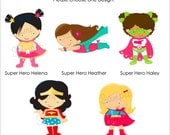 Set of 25 SUPER HERO GIRLS Personalized Cardstock Tags, 5 Designs To Choose From