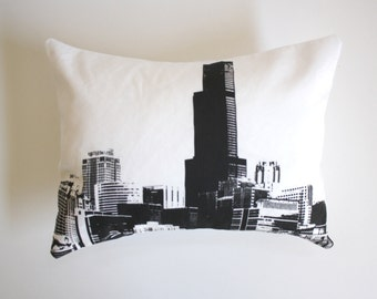 Chicago Skyline Pillow - Chicago Throw Pillow - Downtown Chicago Buildings Decor - Black and White Chicago Pillow