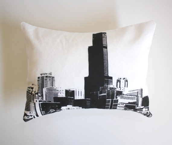 SALE - Chicago Skyline Pillow - Chicago Throw Pillow - Downtown Chicago Buildings Decor - Black and White Chicago Pillow