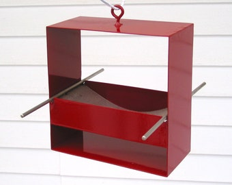 99 Modern Bird Feeder in Deep Red