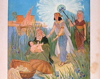 The Princess finds Moses in the River - 1929 Children's Picture Book Plate