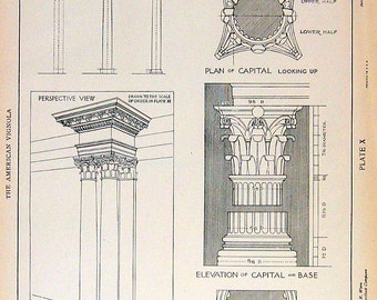 Architectural Drawings - Corinthian Order - 1904 Vintage Book Plate - American Vignola