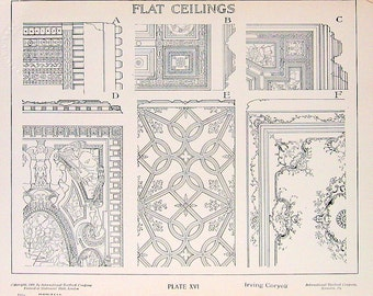 Architectural Drawings - Flat Ceilings - 1906 Vintage Book Plate - American Vignola