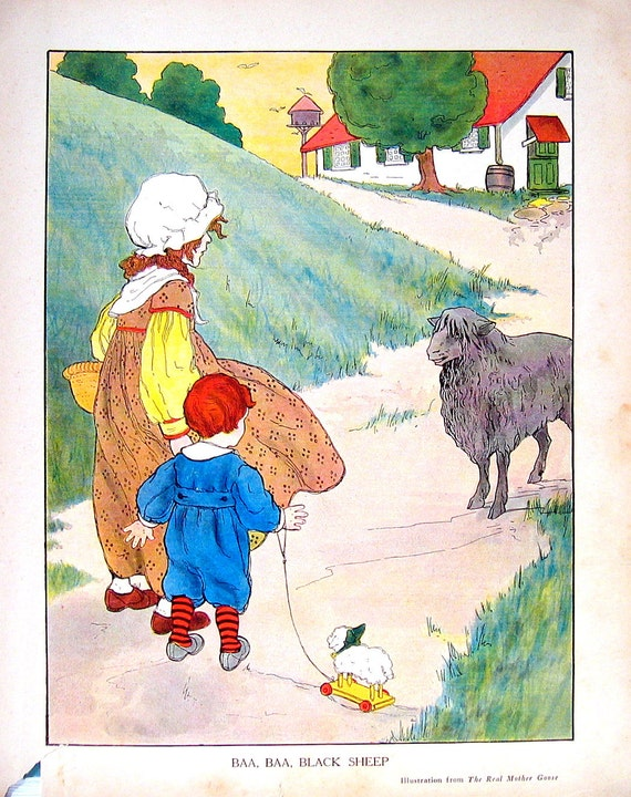 Baa Baa Black Sheep - Mother Goose - 1929 Children's Picture Book Plate