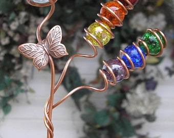 Rainbow Butterfly Glass Garden Art Stake - Copper Metal Sculpture - Outdoor/Lawn/Yard Art