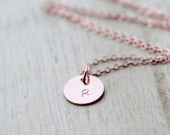 Rose Gold Initial Necklace , Hand Stamped Letter Disc Layering Necklace , Dainty Everyday Jewelry