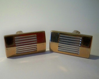 Silver & Gold Cuff Links, Vintage Cuff Links,  Hickok Cuff Links,  Men's Cuff Links, Women's Cuff Links, Unisex Jewelry Accessories