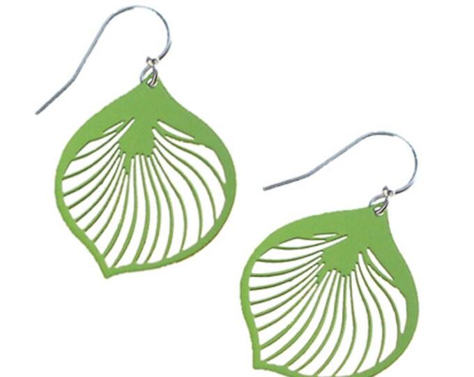Enameled Ginkgo Leaf Earrings in Green Apple