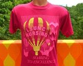 vintage t-shirt 80s hot air balloons LSUMC nursing neon pink louisiana state tee shirt Medium medical nurse