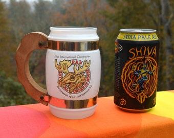 60s vintage glass beer mug loyal ORDER of MOOSE wooden handle 1967 pap siestaware