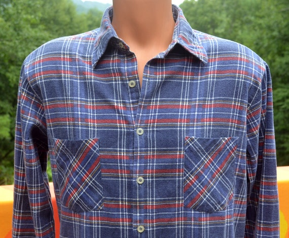 Vintage 70s Plaid Flannel Shirt Lumberjack Button By