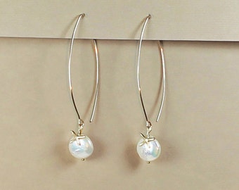 Coin Pearl, Starfish Long Earrings, Beach Wedding Jewelry, Gold Filled, Beach Bridesmaid Earrings, Beach Wedding Earrings