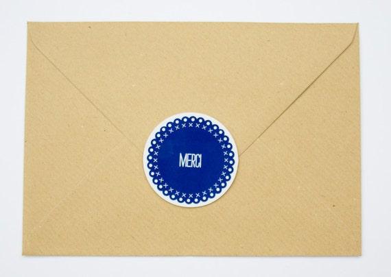 Thank you Stickers -  Set of 10 - Paper Goods for Wedding, Goodies bag, celebration, Envelope seals - Deep blue