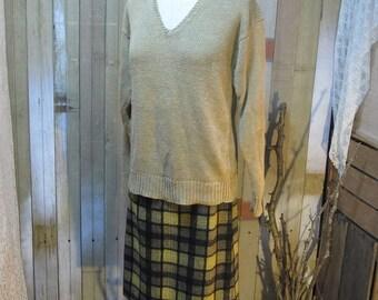 Ralph Lauren Linen Sweater Vintage 80s  pullover natural Tan Brown M L
