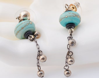 Seaside Dots Aqua And Mother Of Pearl Earrings By