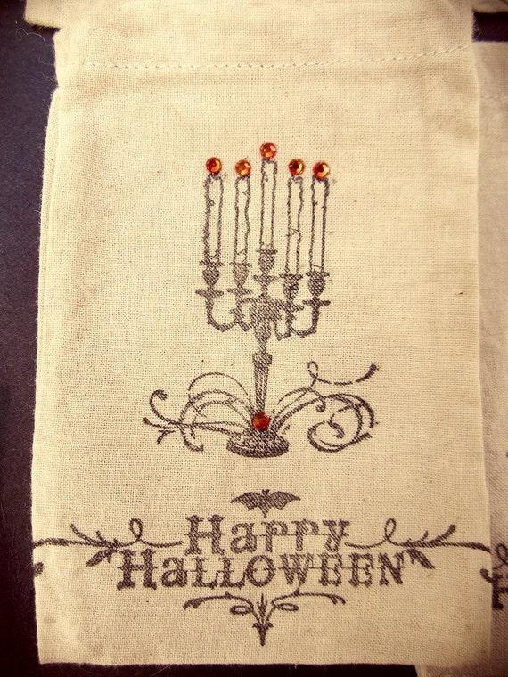 Halloween Decor, Halloween Muslin Party Favor Bags, Hostess Gift, Tan and Black