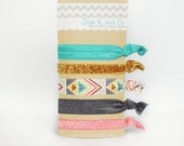 Aztec Elastic Hair Tie Pack of Six-  aztec, pink, gray, gold, teal