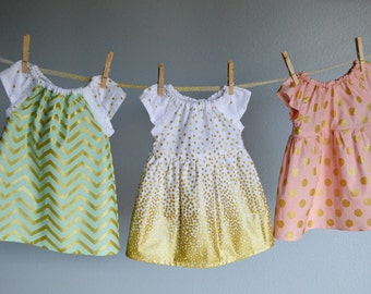 Coordinating Sister dresses, sibling outfits flower girl dress Gold Mint blush pink white polka dots first birthday baby toddler photo shoot