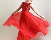 Vintage 1960s Prom Dress - Emma Domb Sequined Bodice Cocktail Gown - Medium Maxi