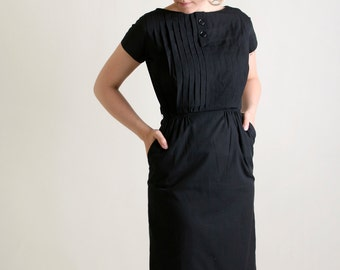 Vintage 1960s Dress - Black Wiggle Dress with Pleat Bodice and Buttons - Medium