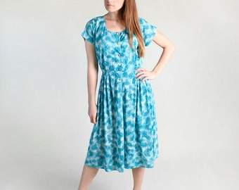 Vintage 1960s Dress - Turquoise Floral Watercolor Day Dress - Large