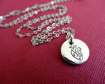 Heart Necklace - Anatomical Heart Necklace - Small Heart Pendant