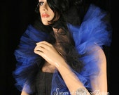 Tulle tie on shoulder shrug wrap Royal blue and black gothic formal dance bridal -- Sisters of the Moon
