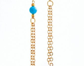 Turquoise and Gold Chain Earrings