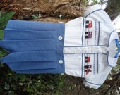 Hand Smocked Romper - just like Prince George!  Train, Boat or plain pattern