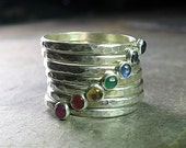 chakra ring yoga jewelry 7 chakras stacking rings sterling silver hammered metalsmith gemstone rings - Seven Chakras